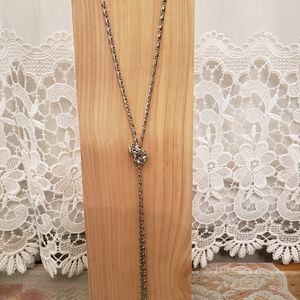 Long Silver Tone Chain Necklace